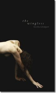 Cover of The Wingless by Cecilia Llompart: a woman crawling in the dark.