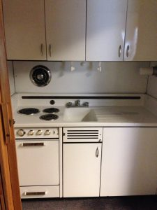 White 1950s Elkay kitchenette.